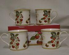 Set of 4 Fine China Strawberry Fayre Mug Set BNIB Strawberry Mugs