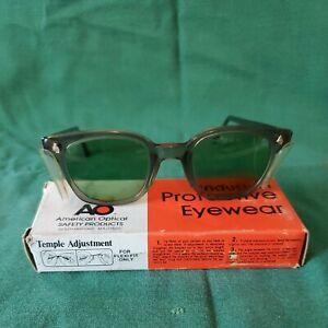 Vintage American Optical AO Green Safety Glasses in Box Retro Wayfarer
