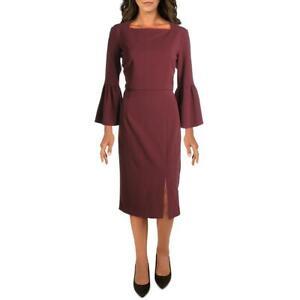 Donna Morgan Womens Purple Bell Sleeves Wear to Work Dress 8 BHFO 4981