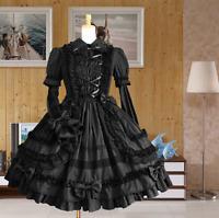Women's Black Long Sleeve Ruffles Layered Lace Lolita Gothic Court Cosplay Dress