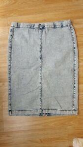 Ladies Blue Acid Wash Stretch Elasticated Waist Denim Skirt Size 16 by Denim &Co