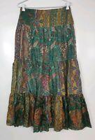 Sportsgirl Womens Size 8 SILK Green Paisley Floral Boho Gypsy Maxi Skirt
