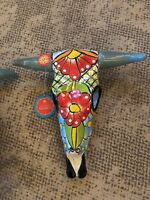 """The Castillo Family Mexican Art Talavera Hanging Scull 12"""" in. NEW WITH TAGS"""