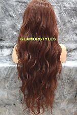 Long Beach Wavy Auburn Mix Full Lace Front Wig Heat Ok Hair piece #T33.130 NWT