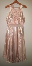 new SOLDOUT asos prom peplum midi beaded dress us 10 rose gold