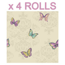 Cream Butterfly Wallpaper Glitter Damask Leaves Sparkle Butterflies Deal 4 Rolls