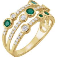 Genuine Emeralds Gemstones & 3/8 cttw Diamonds Bezel Set Ring in 14K Yellow Gold