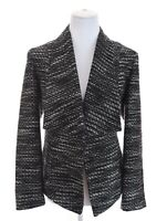 Chicos Tweed Open Front Shawl Collar Blazer Jacket Black White Womens Sz 1 ~ 8 M