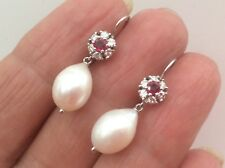 GORGEOUS 18ct WHITE GOLD RUBY AND DIAMOND CULTURED PEARL DROP EARRINGS BOXED