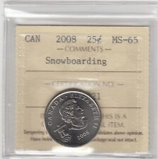 2008 Canada 25-cent Snowboarding Olympic Coin ICCS MS-65
