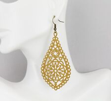 "Mustard yellow big earrings filigree scroll oval teardrop 3.25"" long lightweight"