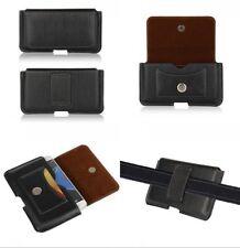 For HTC U11 Life 4G Black Genuine Leather Tradesman Belt Loop Case Cover