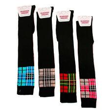 Ladies/Girls Black with Tartan Over the Knee Socks Fancy Dress One Size 4-8