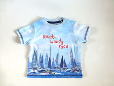 Baby Boy's Ready Steady Race Short Sleeved T-Shirt- Blue- Age 3-6 Months- NEW
