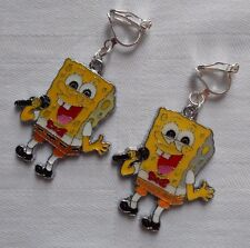 Handmade Nickelodeon Spongebob Squerpants clip on earrings silver plated S04