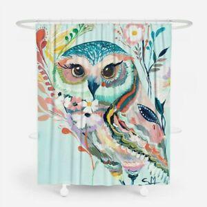 Owl Bathroom Shower Curtain Waterproof Bathtub Fabric Hook Mould Proof Decor DIY