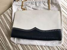 Salvatore Ferragamo white & navy clutch or cross body purse handbag spectator