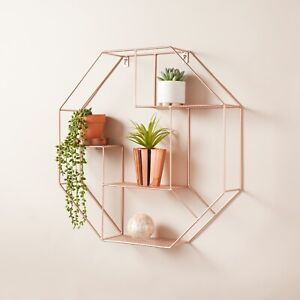 NEW Hexagon Metal Wire Wall Shelf Home Decor Storage Floating Shelf ROSE GOLD