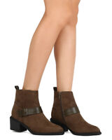 New Women Qupid Thrill01 Faux Suede Pointy Toe Harness Buckle Chunky Heel Bootie