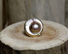 14Kt Yellow Gold Mabe Pearl Ring Size 8