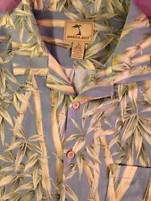 EUC Jamaica Jaxx XL Blue W/Bamboo Tree`s, Side vents 100% Silk Hawaiian Shirt