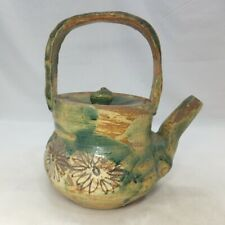 D491: Japanese kettle of ORIBE pottery with appropriate glaze and painting