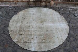 "8 Feet Vintage Handmade Turkish Oushak Round Area Rug 8'2""x8'2"""