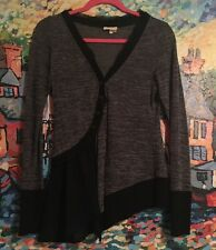 Anthropologie* Meadow Rue* Black & Gray Askew Ruffled Cardigan Sweater Small!