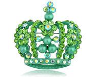 Fashion Green Crystal Rhinestone Faux Pearl Queen King Crown Custom Pin Brooch