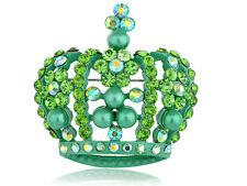 Green Crystal Rhinestone Faux Pearl Queen King Crown Custom Pin Brooch