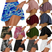 Womens Summer High Waist Skorts Culottes Yoga Sports Gym Skirt Shorts Hot Pants