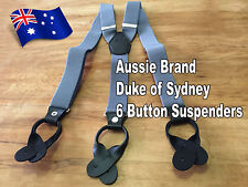 Formal, High-Quality, 6-Button Men's Suspenders (Aussie Brand: Duke of Sydney)