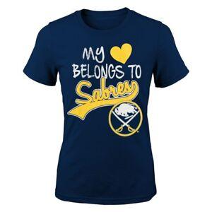 """Buffalo Sabres Outerstuff NHL Girls Navy Blue """"My Heart Belongs To"""" T-Shirt"""