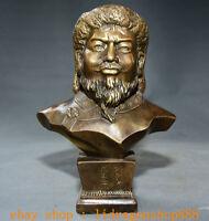 """9,4 """"Bronze Fondateur de la Mongolie Gengis Khan Jenghiz Khan Statue Buste Tête"""