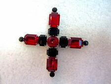 Butler & Wilson Crystal Cross or X Pin Signed Red Black Large Vintage B&W Superb