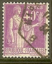 "FRANCE TIMBRE STAMP N°281 ""TYPE PAIX, 40 C LILAS"" OBLITERE TB"