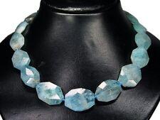 Außergewöhnlich Luxus Halskette aus Aquamarin im Achteck-Treppenform-Schliff