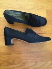 Vintage YSL Yves Saint Laurent Satin Loafers Kitten Block Heel Black Shoes 8.5
