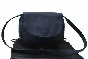 Auth YVES SAINT LAURENT Shoulder Cross Body Bag Nylon Leather Navy Blue D2161