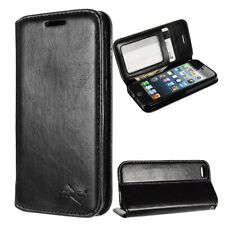 iPhone 5 5s SE 5c  Black Leather Wallet