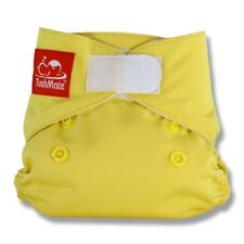 TushMate Reusable Cloth Diaper with Hook and Loop fits New Borns 5-14lbs Yellow
