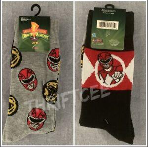NWT Mighty Morphin Power Rangers 2pk Socks 90s TV Show Red Jason Bandai