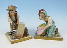 Pair Quality Antique French Porcelain Figurines Boy Girl Vincennes Style Figure