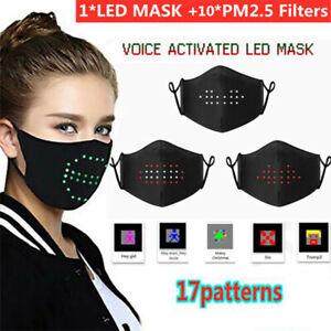 LED Voice Recognition Face Cover Light up Rave Sound Active Festival Party Black