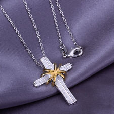 """925Sterling Silver Fashion Jewelry Cool Gold Cross Woman Necklace 18"""" PA103"""