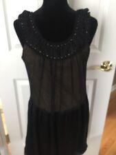 BCBG Max Azria Black Dress Gold lining Size 6 Sleeveless 100% SILK Bubble NEW