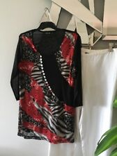 LILIA Red Black Taupe Sheer 3/4 Sleeve Stretch Tunic Top Blouse L 14 12 PC