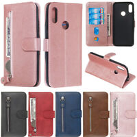 Zipper Wallet Leather Flip Case Cover For Huawei Y7 2019 Honor 20 Lite P30 Lite