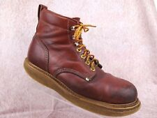 Vtg DOUBLE H Distressed Leather Lace Up Crepe Sole Retro Streetwear Boots 12.5