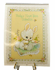 Vintage Current Ruth Morehead Baby's First Year Calendar New Bunny Floral Lace